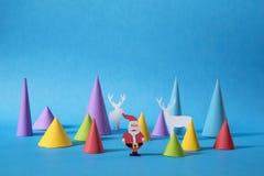 Tarjeta de felicitación de santa del corte del papel de la Navidad del día de fiesta Fotos de archivo libres de regalías