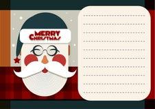 Tarjeta de felicitación de Santa Merry Christmas Imágenes de archivo libres de regalías