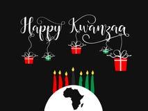 Tarjeta de felicitación decorativa feliz de Kwanzaa Imagenes de archivo