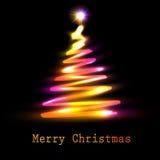 Tarjeta de felicitación del árbol de navidad Foto de archivo libre de regalías