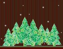 Tarjeta de felicitación del árbol de navidad Fotos de archivo