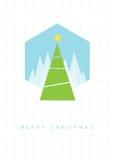Tarjeta de felicitación del árbol de navidad Imagen de archivo libre de regalías