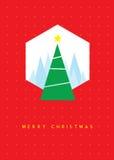 Tarjeta de felicitación del árbol de navidad Foto de archivo