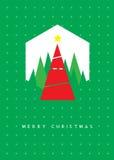 Tarjeta de felicitación del árbol de navidad Imagen de archivo