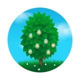 Tarjeta de felicitación del árbol de Pascua Imágenes de archivo libres de regalías