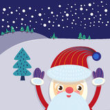Tarjeta de felicitación del árbol de Santa Claus y de Navidad Imagenes de archivo