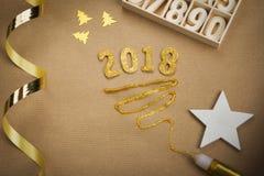 tarjeta de felicitación del Año Nuevo 2018 Imagen de archivo libre de regalías