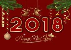 Tarjeta de felicitación del Año Nuevo 2018 Fotos de archivo