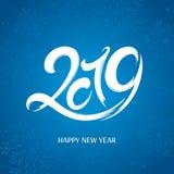 Tarjeta de felicitación del Año Nuevo 2019 años ilustración del vector