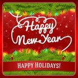 Tarjeta de felicitación del Año Nuevo adornada por la guirnalda del pino Fotos de archivo