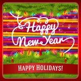 Tarjeta de felicitación del Año Nuevo adornada por la guirnalda del pino Imágenes de archivo libres de regalías