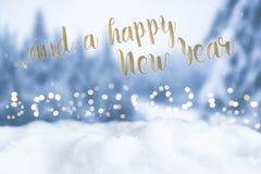 Tarjeta de felicitación del Año Nuevo con el fondo del bokeh Foto de archivo