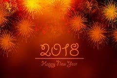 Tarjeta de felicitación del Año Nuevo con el fondo del trabajo del fuego Imagen de archivo libre de regalías