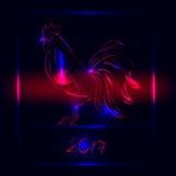 Tarjeta de felicitación del Año Nuevo 2017 con el gallo - símbolo del año Fotografía de archivo