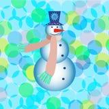 Tarjeta de felicitación del Año Nuevo con el muñeco de nieve Foto de archivo libre de regalías