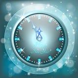 Tarjeta de felicitación del Año Nuevo con el reloj Fotografía de archivo libre de regalías