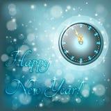 Tarjeta de felicitación del Año Nuevo con el reloj Imagenes de archivo