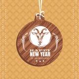 Tarjeta de felicitación del Año Nuevo con la cabra Fotos de archivo