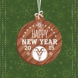 Tarjeta de felicitación del Año Nuevo con la cabra Fotos de archivo libres de regalías