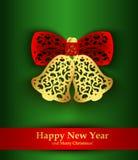 Tarjeta de felicitación del Año Nuevo con la silueta de las campanas de la Navidad Imagen de archivo libre de regalías