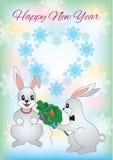 Tarjeta de felicitación del Año Nuevo con un conejo dos Foto de archivo
