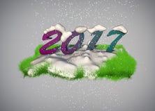 tarjeta de felicitación del Año Nuevo 2017 3D Imagen de archivo