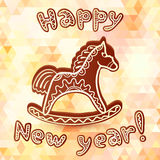 Tarjeta de felicitación del Año Nuevo del caballo del chocolate Fotos de archivo libres de regalías