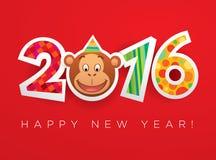 Tarjeta 2016 de felicitación del Año Nuevo del vector Fotografía de archivo libre de regalías