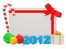 Tarjeta de felicitación del Año Nuevo en el backgroun blanco Fotos de archivo