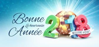 Tarjeta 2018 de felicitación del Año Nuevo en francés Foto de archivo