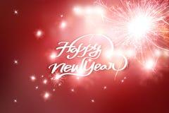 Tarjeta de felicitación del Año Nuevo, fondo borroso en la celebración Imágenes de archivo libres de regalías