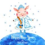 Tarjeta de felicitación del Año Nuevo de la acuarela con el cerdo lindo en traje de la doncella de la nieve ilustración del vector