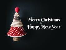 Tarjeta de felicitación del Año Nuevo de la Navidad del ornamento del arte del árbol de navidad Foto de archivo