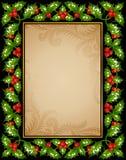 Tarjeta de felicitación del acebo de la Navidad Fotografía de archivo