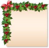 Tarjeta de felicitación del acebo de la Navidad Imagen de archivo libre de regalías