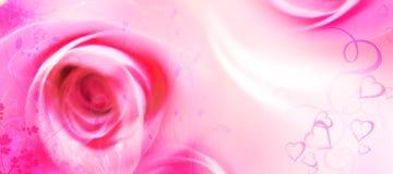 Tarjeta de felicitación del amor - tarjeta del día de San Valentín del St - flores - rosas, corazones Fotos de archivo libres de regalías