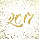 Tarjeta 2017 de felicitación del brillo del oro de la Feliz Año Nuevo Fotografía de archivo libre de regalías