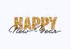 Tarjeta de felicitación del brillo del oro de la Feliz Año Nuevo Foto de archivo libre de regalías