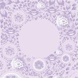 Tarjeta de felicitación del círculo con las flores violetas Vector Foto de archivo libre de regalías