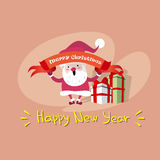 Tarjeta de felicitación del cartel de Santa Clause Happy New Year de la Feliz Navidad Fotografía de archivo libre de regalías