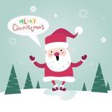Tarjeta de felicitación del cartel de Santa Clause Happy New Year de la Feliz Navidad Imagen de archivo