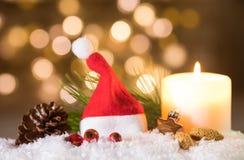 Tarjeta de felicitación del casquillo de Advent Santa Imagen de archivo libre de regalías