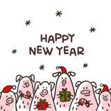 Tarjeta de felicitación del cerdo de la Feliz Año Nuevo Cerdos divertidos con los bastones de caramelo, los regalos y los sombrer ilustración del vector