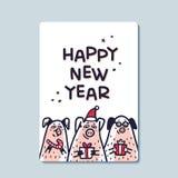 Tarjeta de felicitación del cerdo de la Feliz Año Nuevo Cerdos divertidos con los bastones de caramelo, los regalos y los sombrer libre illustration