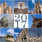 tarjeta 2017 de felicitación del collage del viaje de París Fotos de archivo libres de regalías
