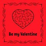 Tarjeta de felicitación del color con el laberinto en forma de corazón Día feliz del `s de la tarjeta del día de San Valentín Jue stock de ilustración