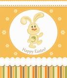 Tarjeta de felicitación del conejito de pascua Foto de archivo libre de regalías