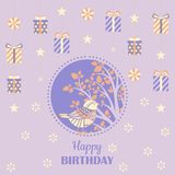Tarjeta de felicitación del cumpleaños ilustración del vector
