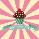Tarjeta de felicitación del cumpleaños con la magdalena Imagen de archivo