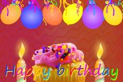 Tarjeta de felicitación del cumpleaños con la tira y las velas del globo de la magdalena Fotos de archivo libres de regalías